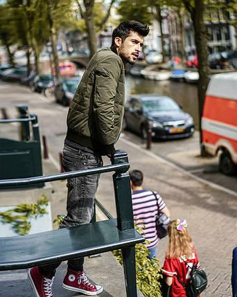 Демисезонная мужская куртка бомбер хаки, фото 2