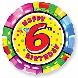"""Надувной шар Круг 18"""" (46 см) Цифра 6, С Днём Рождения"""
