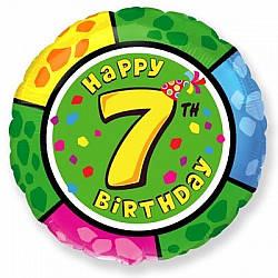 """Надувной шар Круг 18"""" (46 см) Цифра 7, С Днём Рождения"""