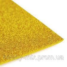 Фоамиран глиттерный 2мм золотой Китай 20*30 см