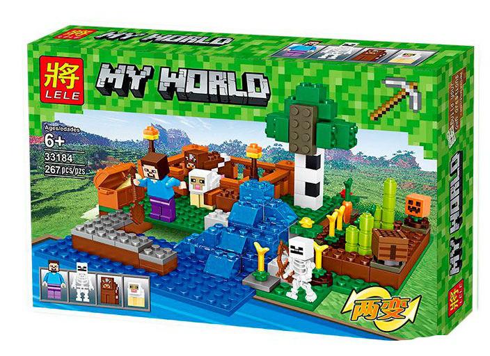 "Конструктор Lele 33184 Майнкрафт ""Ферма з водоспадом"" 267 деталей (аналог Lego Minecraft)"