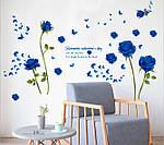 Самоклеющаяся  наклейка  на стену Синие розы  (147х98 см), фото 5