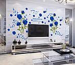 Самоклеющаяся  наклейка  на стену Синие розы  (147х98 см), фото 3
