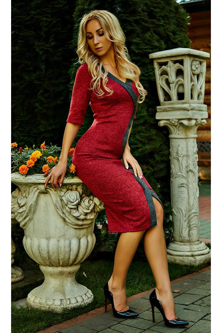 """Стильное женское платье """"Тина"""" (марсала)"""