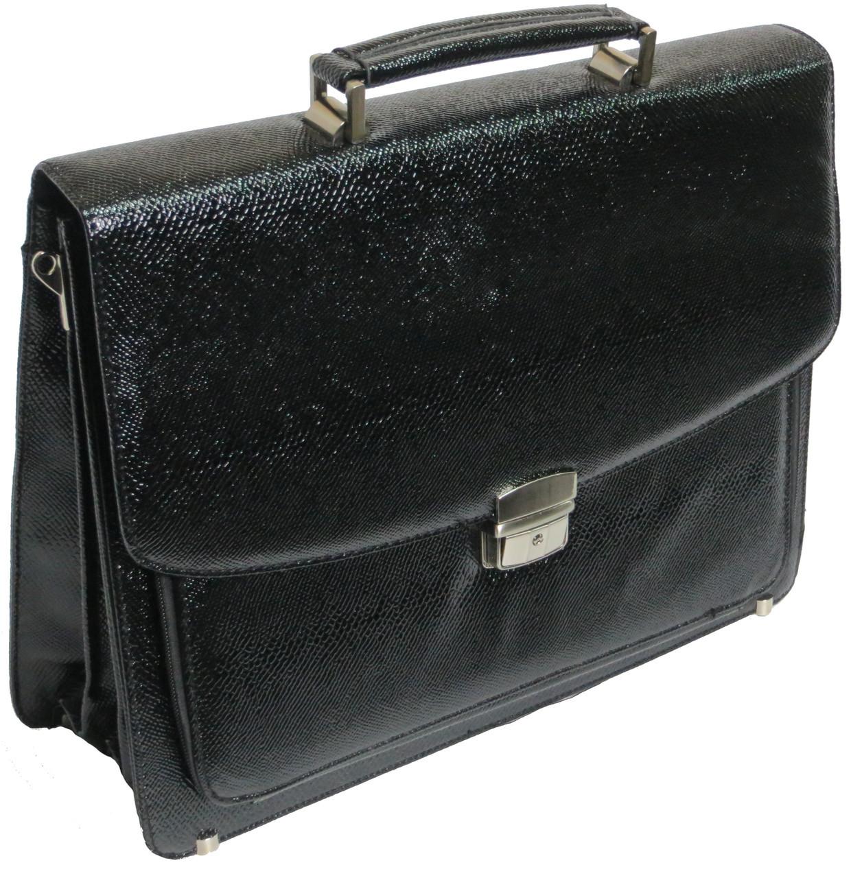 Мужской портфель из эко кожи под змею черный B7808 black