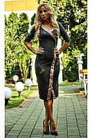 """Стильное женское платье """"Тина"""" (серо-коричневое), фото 1"""
