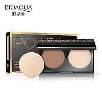 Палетка для контурирования лица BioAqua Powder Two Color Bronzer  №02, фото 1