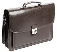 Портфель из эко кожи 3 отдела, Jurom Польша 0-38-112 коричневый, фото 1