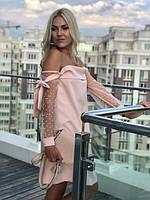 Платье женское короткое с прозрачными рукавами P10514, фото 1