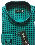 Рубашка мужская G 1276002 в клетку зеленая, фото 5