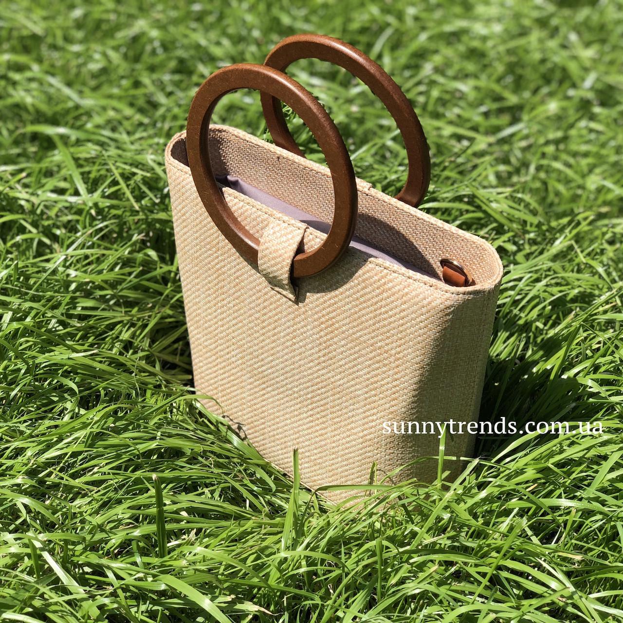 d1b42a14429c Сумка плетеная соломенная с ручками из бамбука бежевая: продажа ...