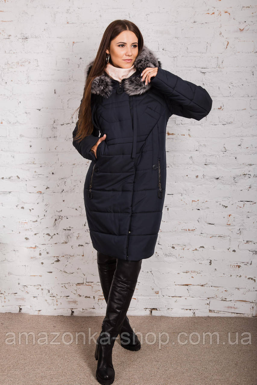 Качественное женское пальто с натуральным мехом 2018-2019 - (модель кт-338)