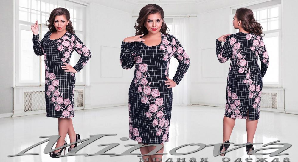 Жіноча трикотажна сукня з принтом рози
