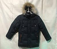 Зимняякуртка для мальчикаподростковая тёмно синяяот 8до 12летс натуральным мехом, фото 1