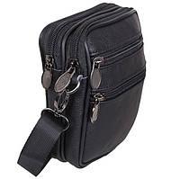 Кожаная мужская сумка Bon9950-1 черная барсетка через плечо на пояс натуральная кожа 16х12х5см, фото 1