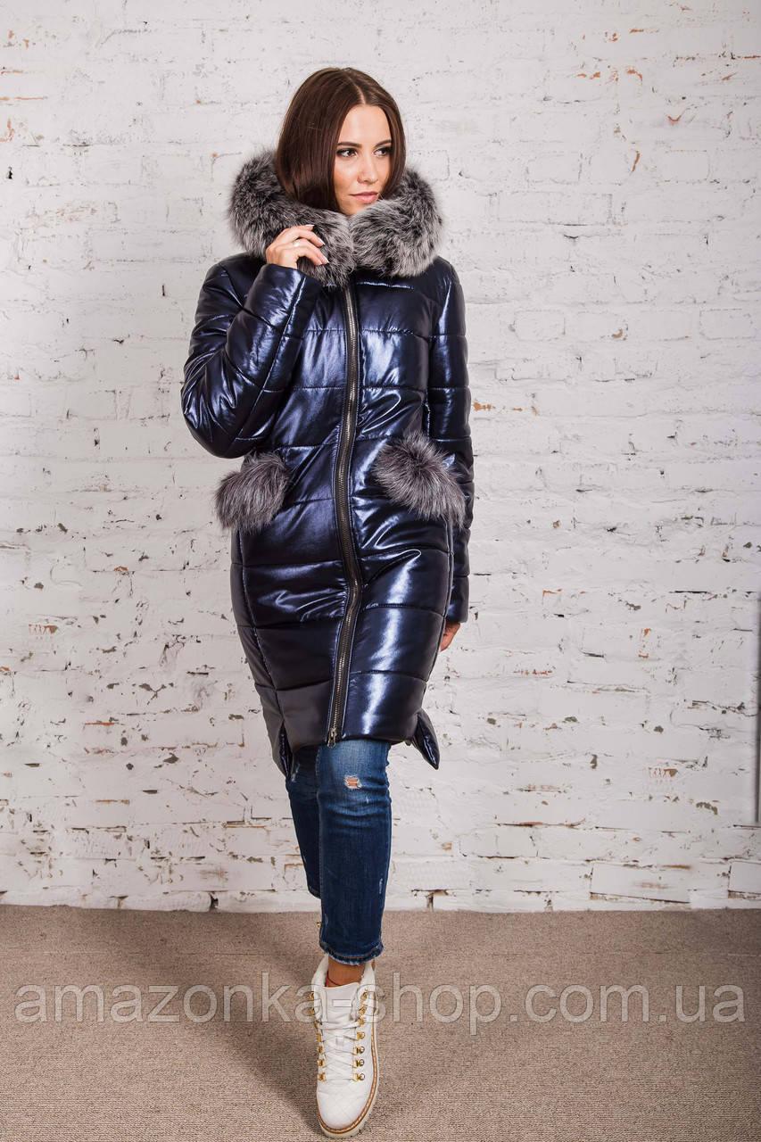 Стильное женское пальто с натуральным мехом - 2019 - (модель кт-329)