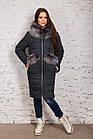 Стильное женское пальто с натуральным мехом - 2019 - (модель кт-329), фото 8