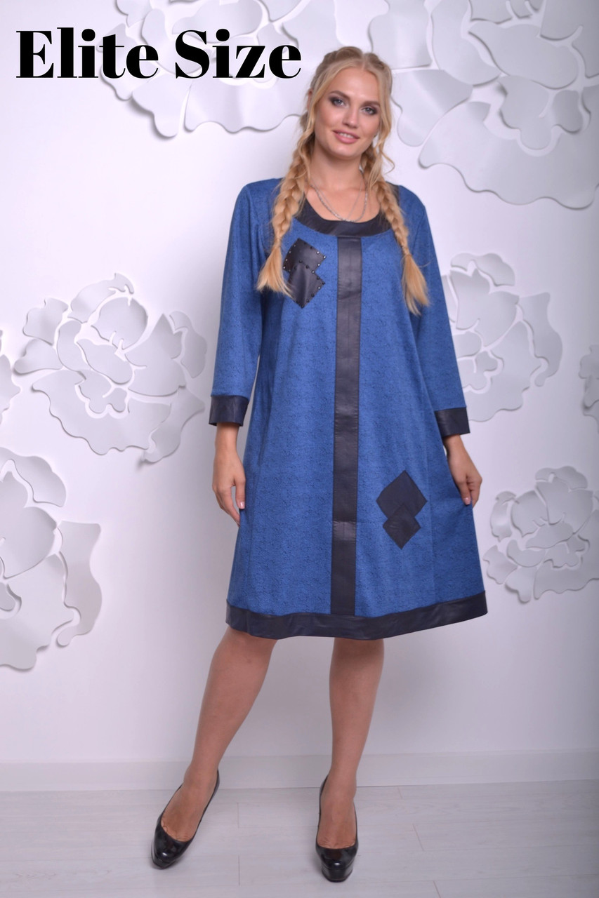 ca85f56f83ec519 Платье Паола 58-66 джинс - Wellness-sistem - интернет магазин одежды и обуви