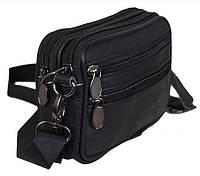 Кожаная мужская сумка Bon9947-1 цвет черный барсетка через плечо на пояс натуральная кожа 12х16х5см, фото 1