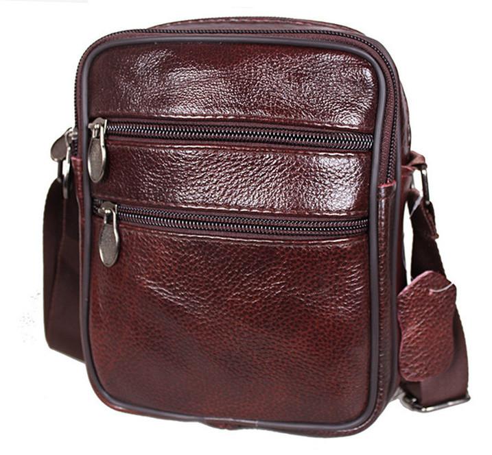 8a6a837086de Кожаная мужская сумка Bon2366-1 коричневая барсетка через плечо натуральная  кожа 19х15х7см - Интернет-