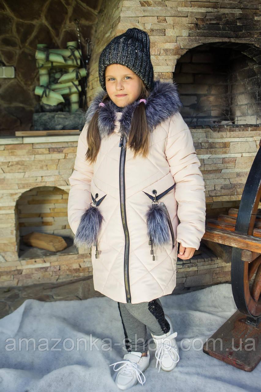 Удлиненное зимнее пальто для девочек от производителя - (модель КД-507)