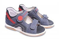 Босоножки детские. Ортопедическая обувь MEMO, модель SAPPHIRE, сине-красные нубук (27-31)