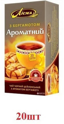 Чай Лисма чёрный ''Бергамот''  20шт, фото 2