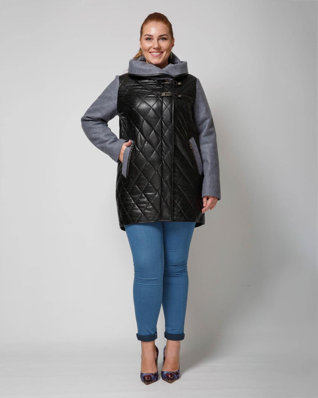 95fb0b4fa96 Женская удлиненная демисезонная куртка комбинированная -М 1312 ...