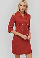 Полуприталенное двубортное платье с отложным воротником (Evida crd)