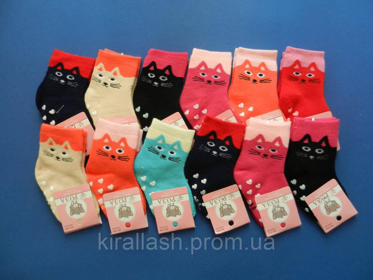 """Носки (6-12 месяцев) махровые с ТОРМОЗАМИ """"Роза"""" для девочек с кошками"""