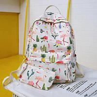 Стильный рюкзак с фламинго и кактусами, фото 1