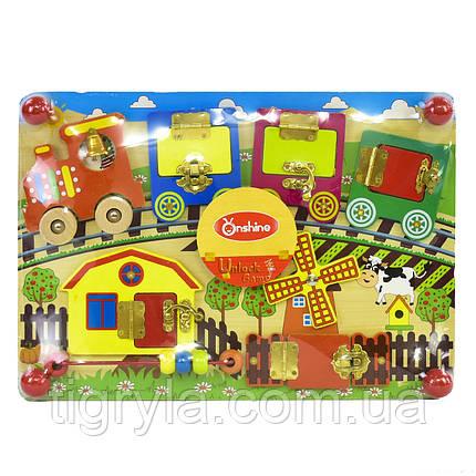 """Бизиборд """"Веселый паровозик"""" подвижные элементы, колокольчик, замочки и пальчиковый лабиринт, фото 2"""