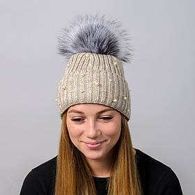 """Вязаная женская шапка """"Elza"""" с меховым помпоном"""