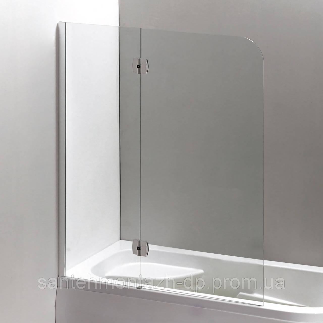 Шторка на ванну 120*150 см, ліва, колір профілю-хром