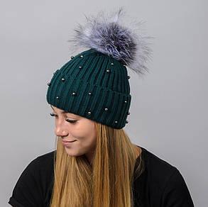 """Вязаная женская шапка """"Elza"""" с меховым помпоном, фото 2"""