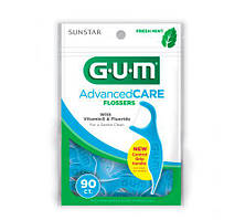 GUM Advanced Care Flossers with Vitamin E, Fluoride and a Fresh Mint Flavor Флосс с держателем 90 шт