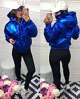 Демисезонная тёплая женская объёмная куртка Зефирка бомбер с капюшоном синяя перламутровая S M L