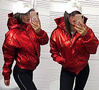 Демисезонная тёплая женская объёмная куртка Зефирка бомбер с капюшоном красная перламутровая S M L