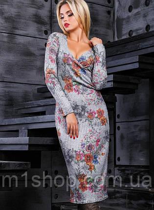 Вязаное женское платье с глубоким декольте (2374-2373-2372 svt), фото 2
