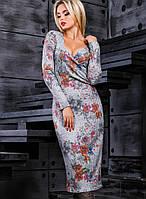 Вязаное женское платье с глубоким декольте (2374-2373-2372 svt)