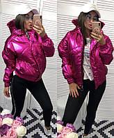 Демисезонная тёплая женская объёмная куртка Зефирка бомбер с капюшоном малиновая перламутровая S M L