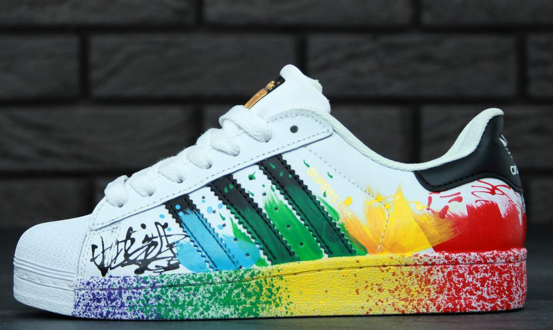 Женские кроссовки Adidas Superstar Paint Splatter White