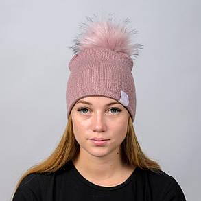 """Вязаная женская шапка """"Nika Lurex"""" с меховым помпоном, фото 2"""