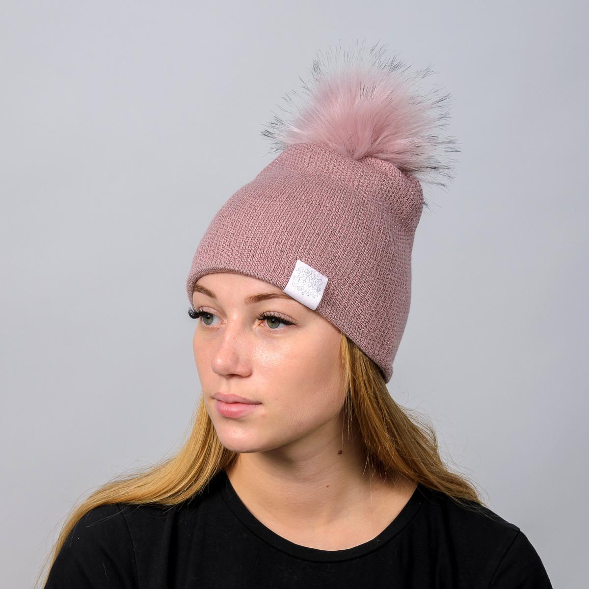 """Вязаная женская шапка """"Nika Lurex"""" с меховым помпоном"""