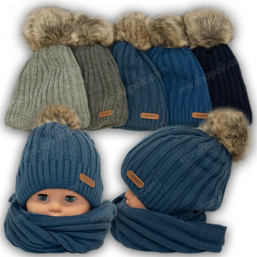 ОПТ Вязаная шапочка для мальчика, р. 50-52 (5шт/набор)