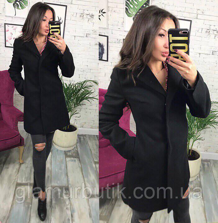 b8c85ad3f52 Женское классическое кашемировое пальто на пуговицах с карманами чёрное S M  L