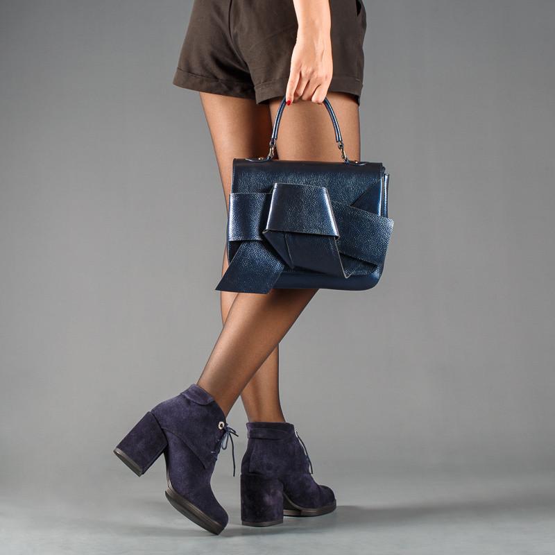 Сині жіночі замшеві черевики на підборах, демі, зима. Каблук 9 см Колір будь-який