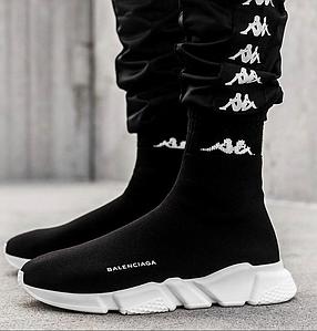 Женские высокие кроссовки Balenciaga Speed Trainer Sock Black/White (Баленсиага) черные, реплика