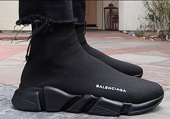 """Женские кроссовки Balenciaga Speed Trainer """"Black"""" (Баленсиага с носком) черные, реплика"""