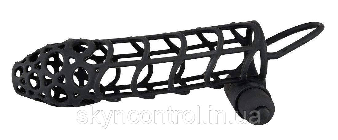 Насадка для пениса с вибрацией Black Velvets Sleeve Plus Vibrator